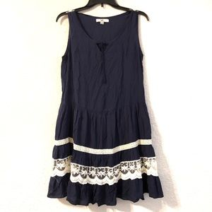 Navy Bohemian Sleeveless Lace Dress Sz S